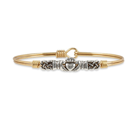 BRACELET-CLADDAGH BRASS BANGLE