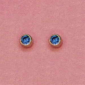 SINGLE GOLD BEZEL SEPTEMBER (BLUE) EAR PIERCING STUD 3MM, FOR SENSITVE EARS. SURGICAL STAINLESS STEEL. NICKEL & ALLERGY FREE.