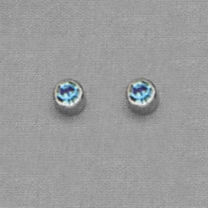 SILVER BEZEL MARCH (LIGHT BLUE) EAR PIERCING STUD 3MM, FOR SENSITVE EARS. SURGICAL STAINLESS STEEL. NICKEL & ALLERGY FREE.