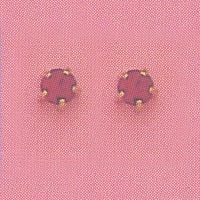 SINGLE GOLD PRONG JULY (RED) EAR PIERCING STUD 3MM, FOR SENSITVE EARS. SURGICAL STAINLESS STEEL. NICKEL & ALLERGY FREE.