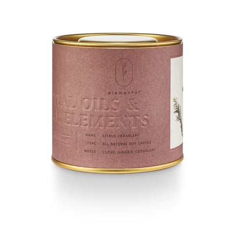 NATURAL TIN CANDLE- CITRUS CEDARLEAF