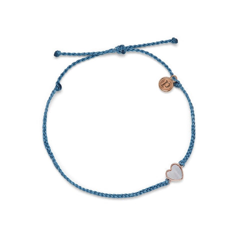 PURAVIDA ANKLET HEART OF PEARL DUSTY BLUE