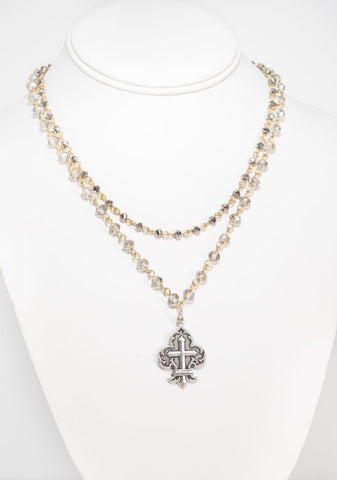 "MARIE KATHERINE-NECKLACE 16""SILVER CROSS"