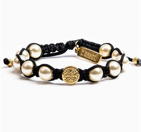 BENEDICTINE PEARL BLACK BRACELET - GOLD