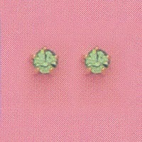 GOLD PRONG AUGUST (LIGHT GREEN) EAR PIERCING STUD 3MM, FOR SENSITVE EARS. SURGICAL STAINLESS STEEL. NICKEL & ALLERGY FREE.