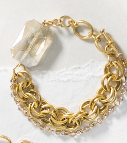 "MARIE KATHERINE-7.5-8""CHAIN BRACELET W27MM RECT CHAMP CRYSTAL"