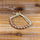 RADIANT PEARL BRACELET-CREAM/ROSE PEARLS/GOLD