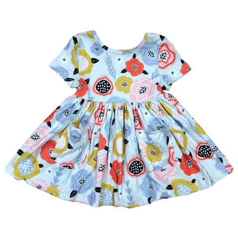 SKY BLUE RETRO FLORAL SHORT SLEEVE POCKET TWIRL DRESS