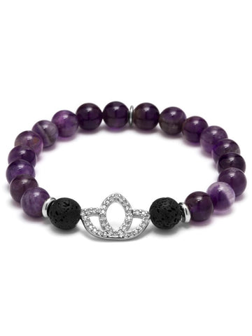KARMA LOTUS ESSENTIAL OIL BRACELET AMETHYST/RHODIUM PLATED