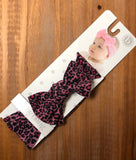 PRINTED HEADBAND-PINK ANIMAL LEOPARD