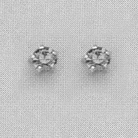 SILVER PRONG BLACK ICE CUBIC ZIRCONIA EAR PIERCING STUD 3MM, FOR SENSITIVE EARS. SURGICAL STAINLESS STEEL. NICKEL & ALLERGY FREE.
