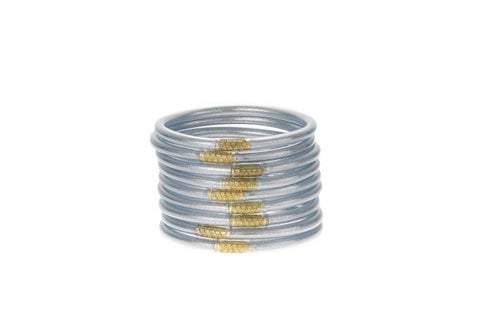 BUDHAGIRL BANGLES-SET OF 3-SILVER
