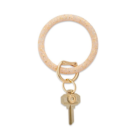 BIG O KEY RING-SILICONE- GOLD CONFETTI