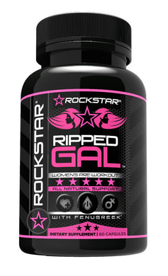 Ripped Gal - Pre-Workout Pills by Rockstar, with L-Arginine, Rhodiola, Maca, and Muira Puama - 60 Veggie Caps