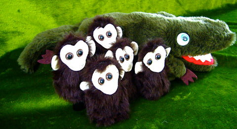 Crocodile Hand Puppet & 5 Little Monkeys (Finger Puppets) plus Rhyme Chart