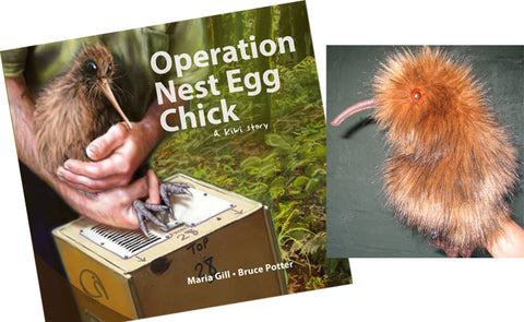 'Operation Nest Egg Chick' Book (by Maria Gill & Bruce Potter) and Kiwi Hand Puppet by Erin Devlin