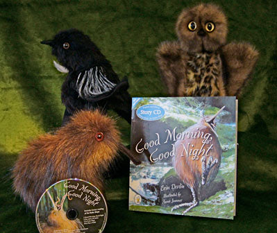'Good Morning, Good Night' Book, CD & Kiwi Hand Puppet by Erin Devlin