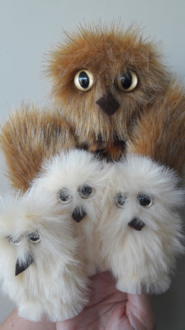Mother Owl & 3 Owl Babies Puppets