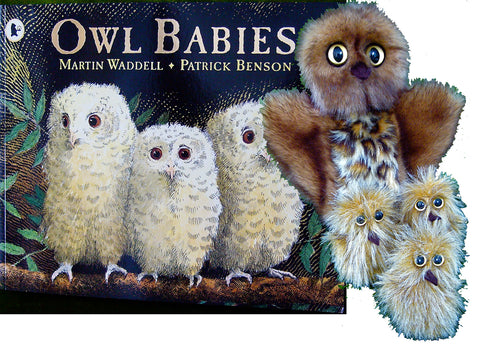 'Owl Babies' Book and Pack of Owl Hand Puppet & 3 Fluffy Baby Owl Finger Puppets by Erin Devlin