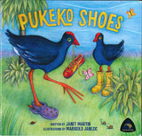 'Pukeko Shoes' Book & Hand Puppet Pukeko Pack.  Book by Janet Martin and Pukeko hand puppet by Erin Devlin of The Kiwi Puppet Company