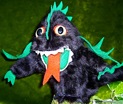 Taniwha Hand Puppet created and made in NZ by Erin Devlin of The Kiwi Puppet Company