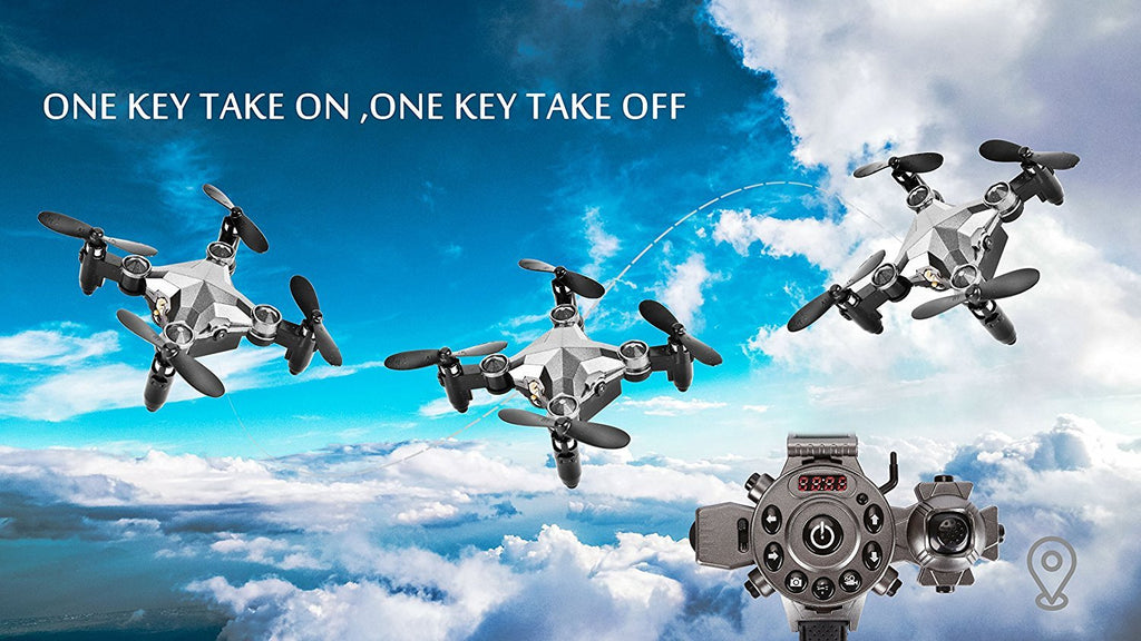 Mini Helicopter with Wearable Watch Remote Foldable Drone 4 Axis FPV Camera