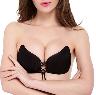 Silicone Strapless Backless Bras Self Adhesive Push Up Bras with Drawstring