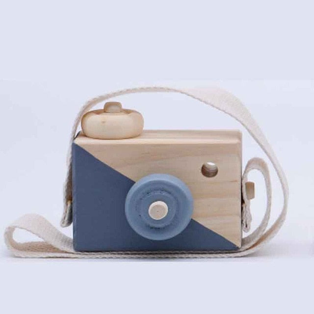 Kids Mini Wooden Camera Toys Fashion Neck Hanging Photographed Props