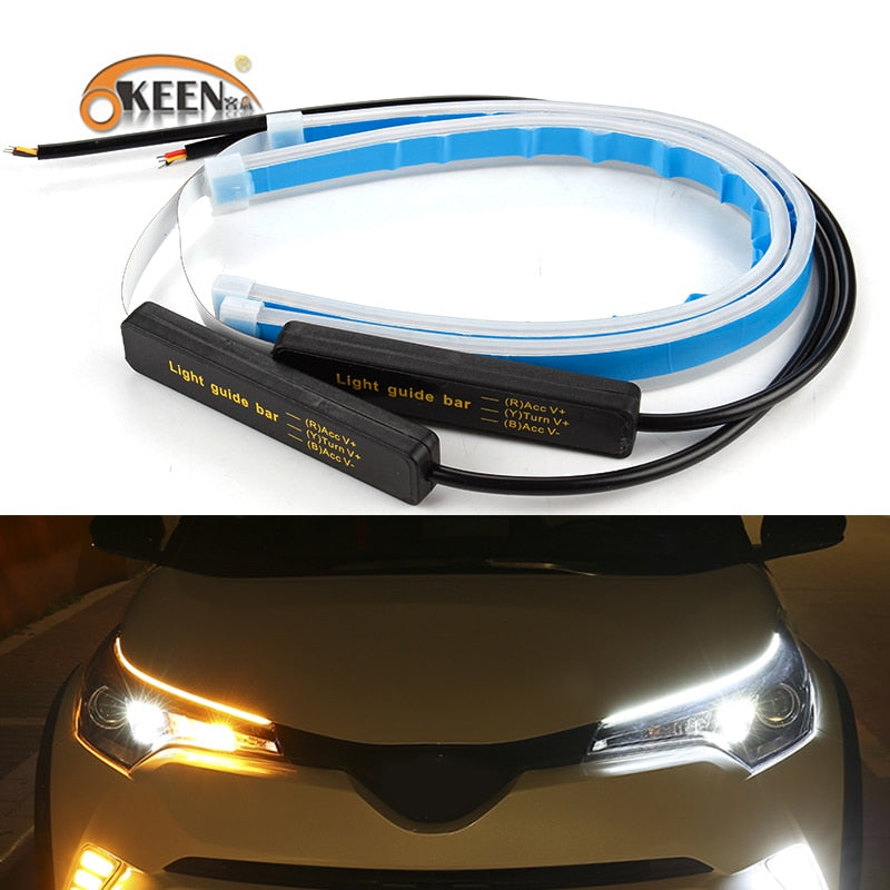 LED Daytime Running Light Strips - Flexible 6 Colors Switchback LED Stirp Turn Signals 12V DRL Strip Easy Paste
