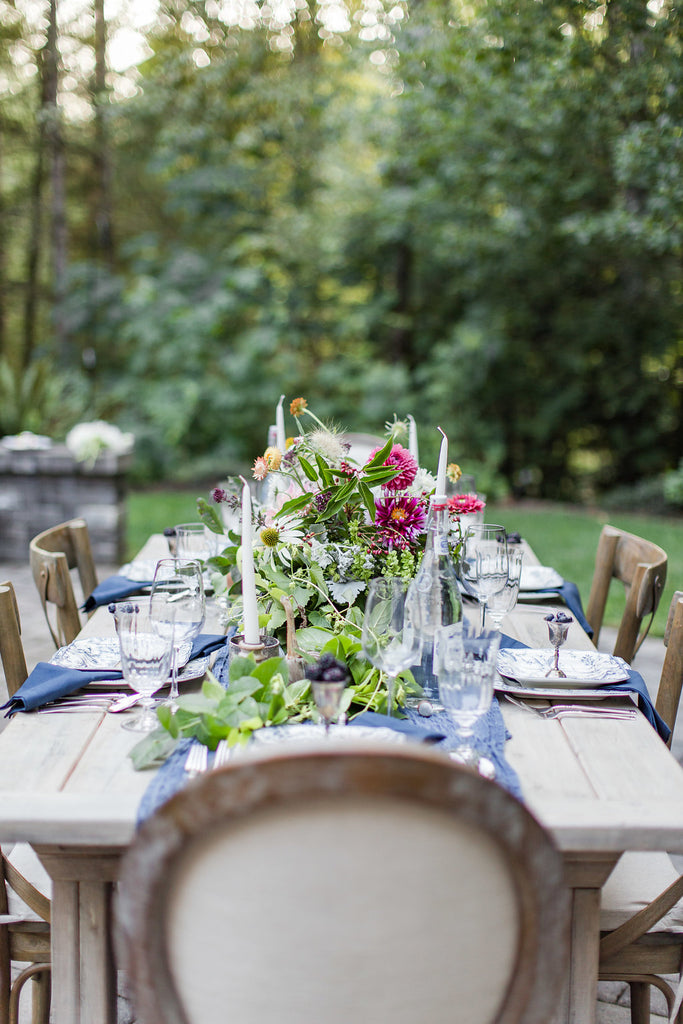 First & Bloom tablescape dinner party