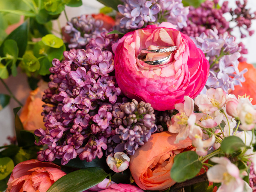 spring blooms: lilac, cherry blossom, ranunculus