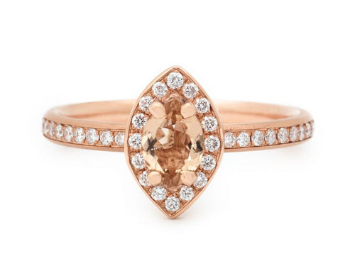 14K Rose Gold, Tourmaline and Diamond Engagement Ring