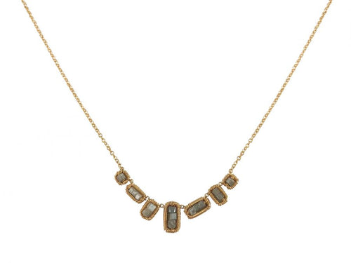 14K Yellow Gold And Gray Diamond Cube Necklace