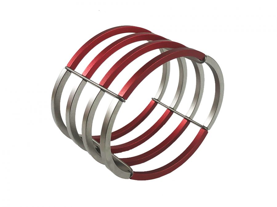 Stainless Steel and Red Aluminum Cuff Bracelet