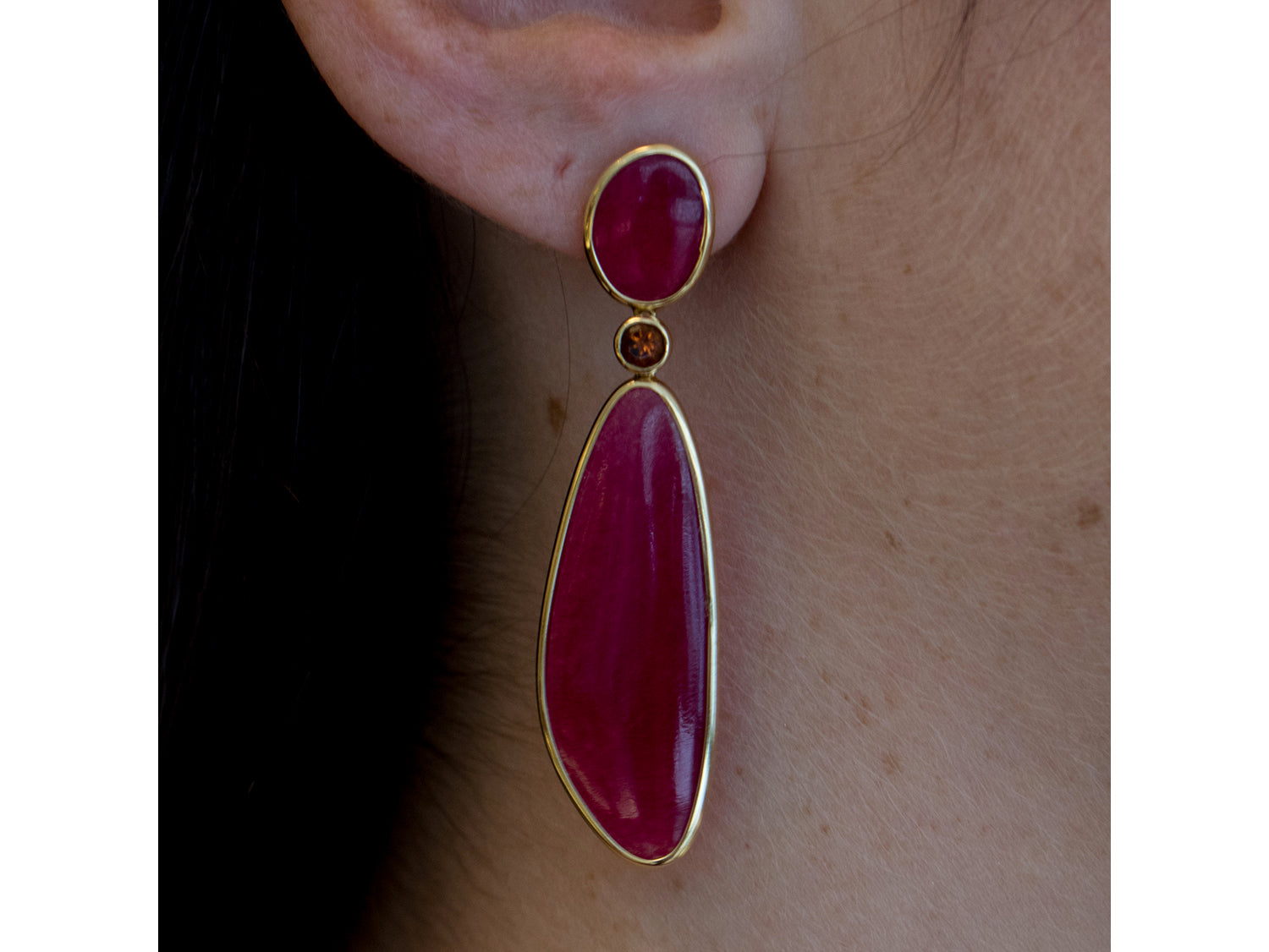 18K Yellow Gold, Cranberry Quartz and Citrine Earrings