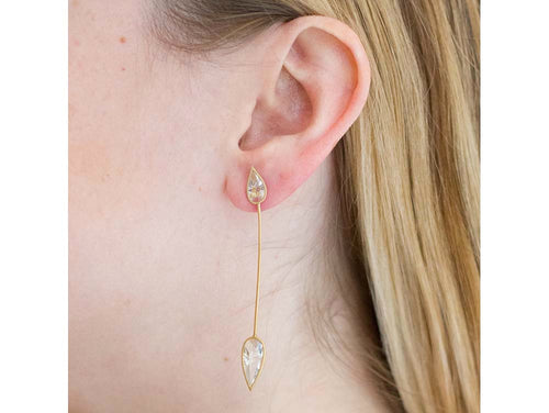 "18K Yellow Gold and Quartz ""Sentidos"" Earrings"