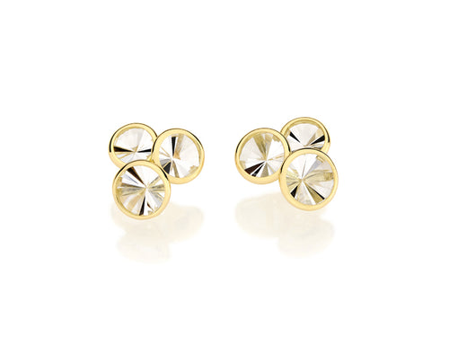 "18K Yellow Gold and Quartz ""Celebration"" Stud Earrings"