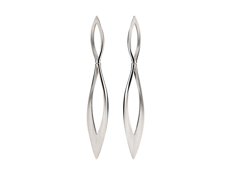 "Silver ""Half Moon"" Stud Earrings"