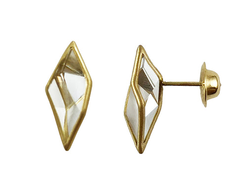 "18K Yellow Gold and Quartz ""Prisma"" Stud Earrings"