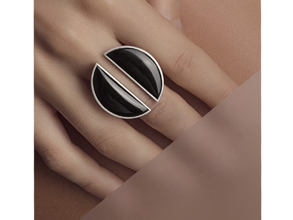 Black Quartz Split Ring