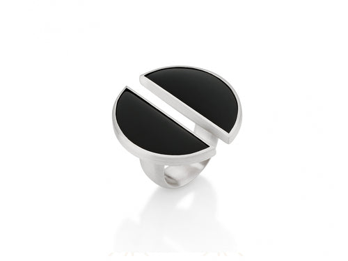 Sterling Silver and Black Quartz Ring