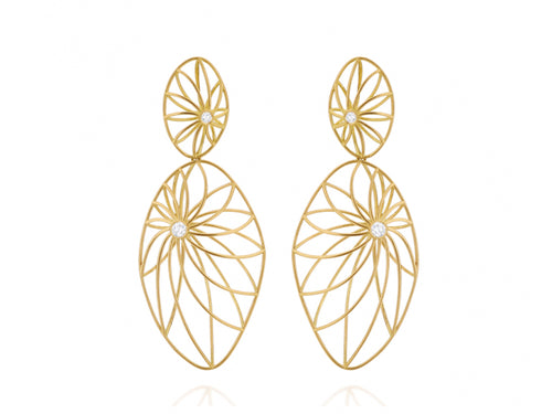 18K Yellow Gold and Diamond Tropical Earrings