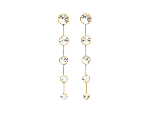 18K Yellow Gold and Colorless Quartz Earrings