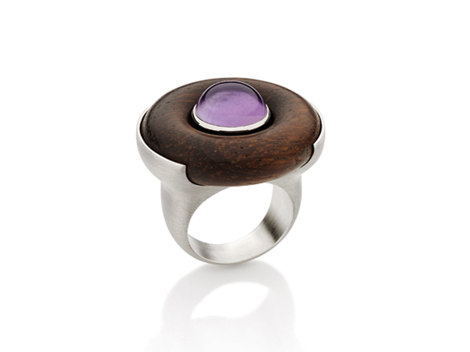 Sterling Silver, Jacaranda Wood and Amethyst Ring