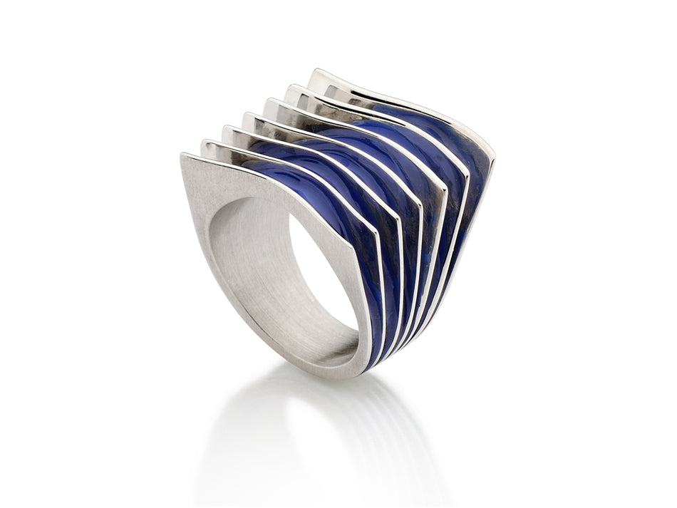 "Sterling Silver and Cold Enamel ""Ocean"" Ring"