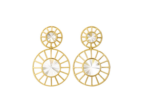 "18K Yellow Gold and Quartz ""Radial"" Earrings"