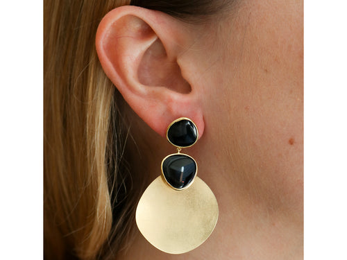 "18K Yellow Gold and Black Quartz ""Solar"" Earrings"