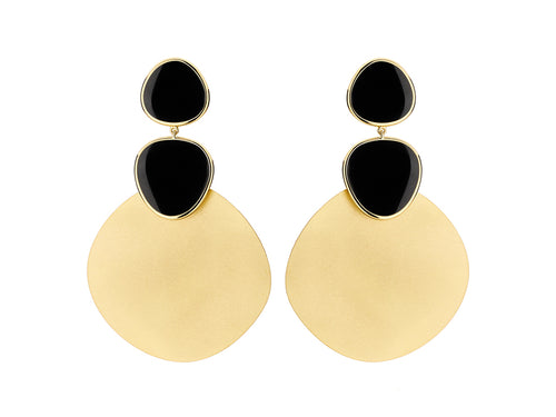 "Antonio Bernardo 18K Yellow Gold and Black Quartz ""Solar"" Earrings"