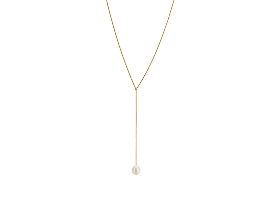 "18K Yellow Gold and Pearl Lariat ""Poème"" Necklace"