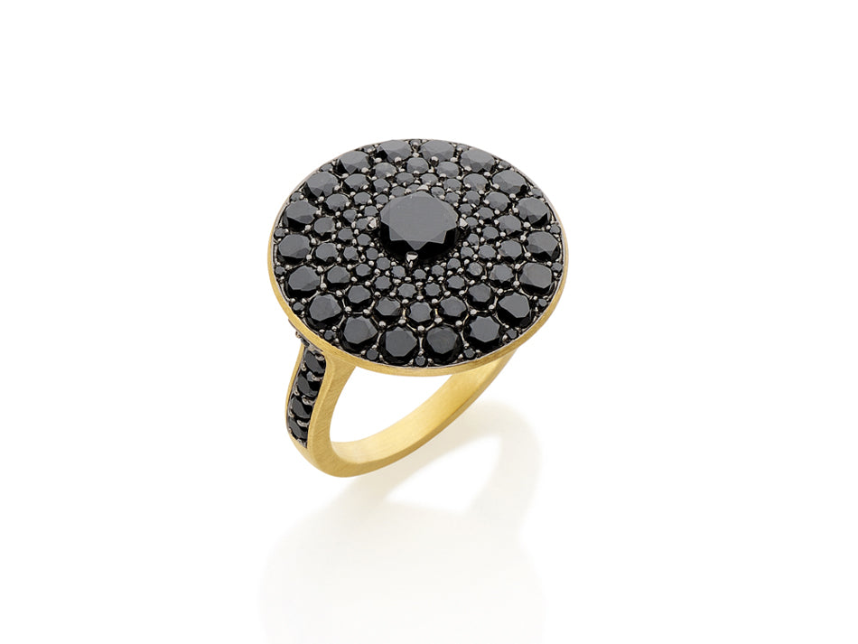 "18K Yellow Gold and Pavé Black Diamond ""Cluster"" Ring"
